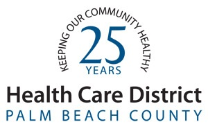 H C D logo with text over the words 25 years. The text reads Keeping Our Community Healthy