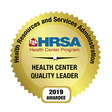 HRSA Gold Health Center Quality Leader 2019 Awardee Badge