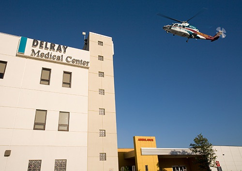 The Trauma Hawk flying by the Delray Medical Center