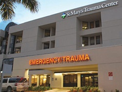 Outside of St Marys Medical Center showing the Emergency Trauma signage