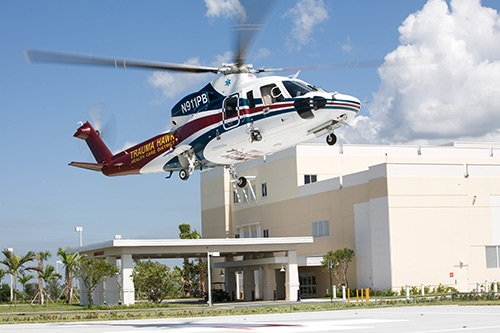 Trauma Hawk landing at Lakeside Medical Center