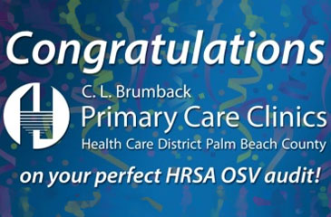 Banner reads Congratulations C L Brumback Primary Care Clinics on your perfect HRSA OSV audit