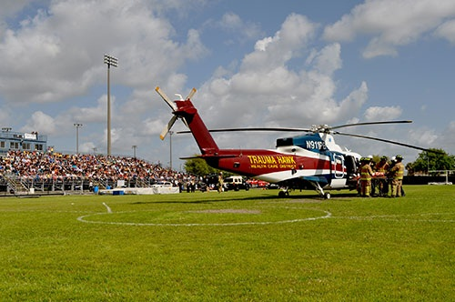 Trauma Hawk on the foot ball field at Wellington Community High School