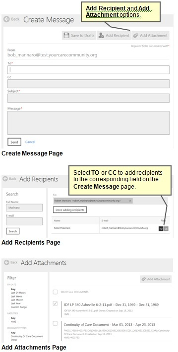 Screenshots of the Create a Message Page. The Add Recipients Page. and the Add Attachments page