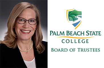 From left to right Darcy Davis, Palm Beach State College logo with text that reads Board of Trustees