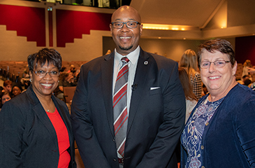 Image of Karen Harris, Donald E. Fennoy II, Ed.D., and Ginny Keller, RN, MBA, NCSN