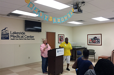 Image of LMC and Bridges Staff Presenting at Baby Shower