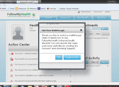 Screenshot of the FollowMyHealth Patient Portal after signing into the website