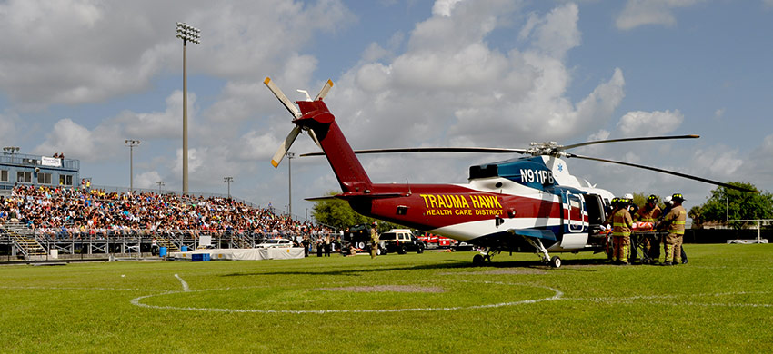 The Trauma Hawk on a High School foot ball field during a demonstration