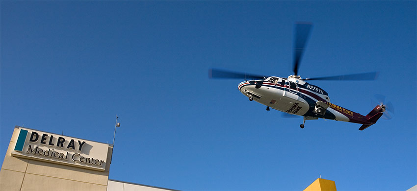 The Trauma Hawk flying over Delray Medical Center